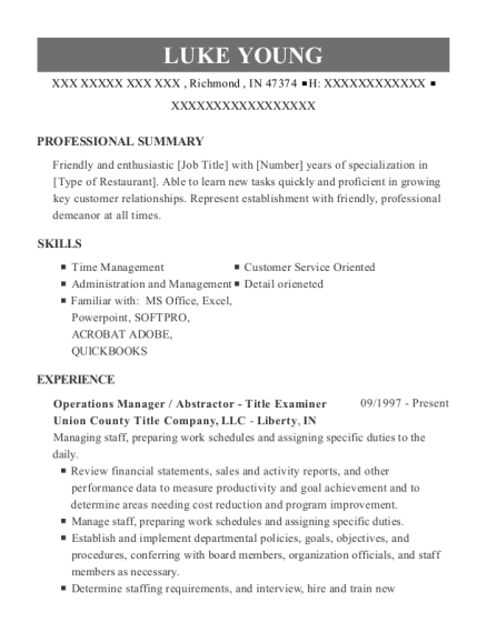 Operations Manager resume format Indiana