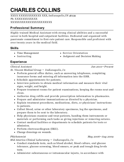 Clinical Assistant resume format Indiana