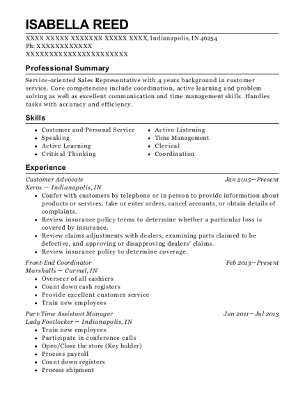 Customer Advocate resume format Indiana