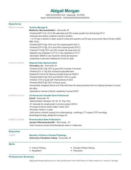 Territory Manager III resume sample Indiana