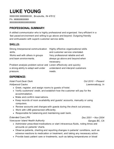 Hotel Front Desk Clerk resume example Indiana