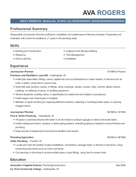Journeyman Plumber resume sample Indiana