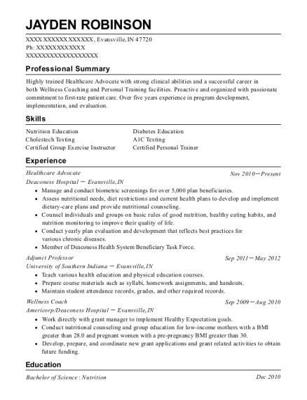 Healthcare Advocate resume example Indiana