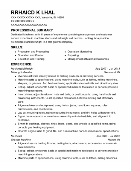 Machinist resume format Indiana