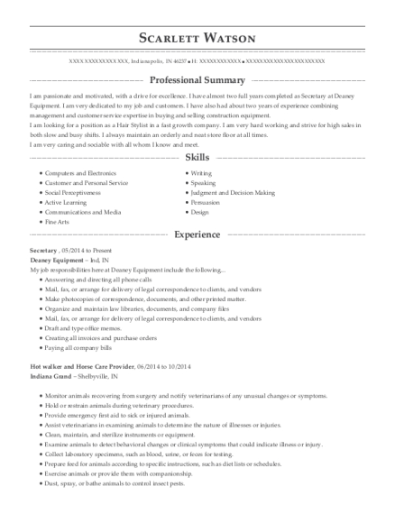 Secretary resume sample Indiana