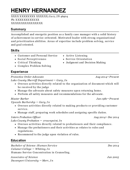 Protective Order Advocate resume format Indiana