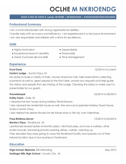 Front Desk resume template Indiana