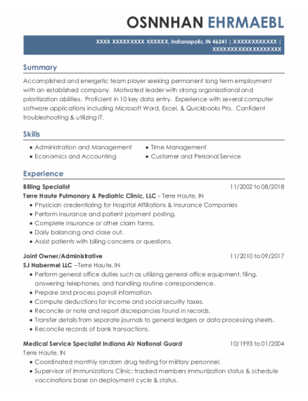 Billing Specialist resume example Indiana