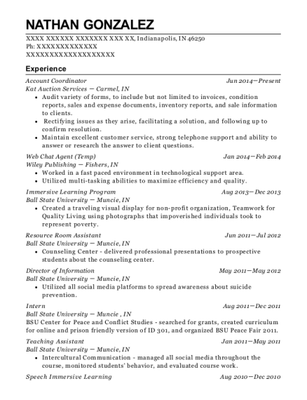 Account Coordinator resume sample Indiana