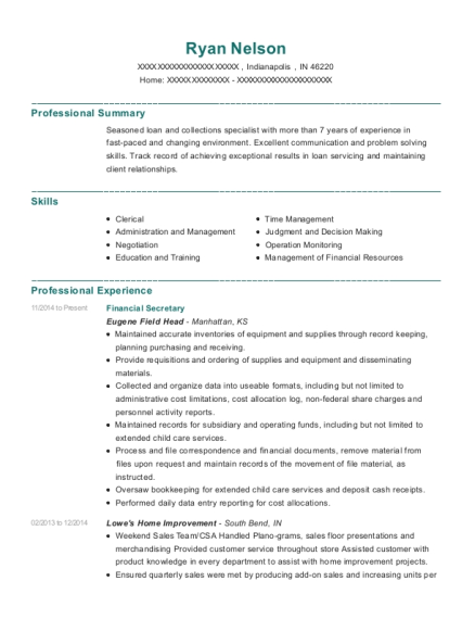Financial Secretary resume sample Indiana