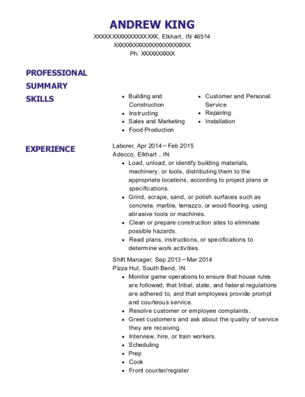 Laborer resume sample Indiana