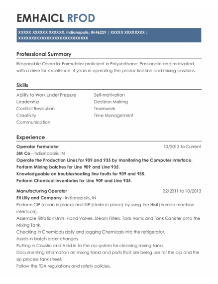 Manufacturing Operator resume template Indiana