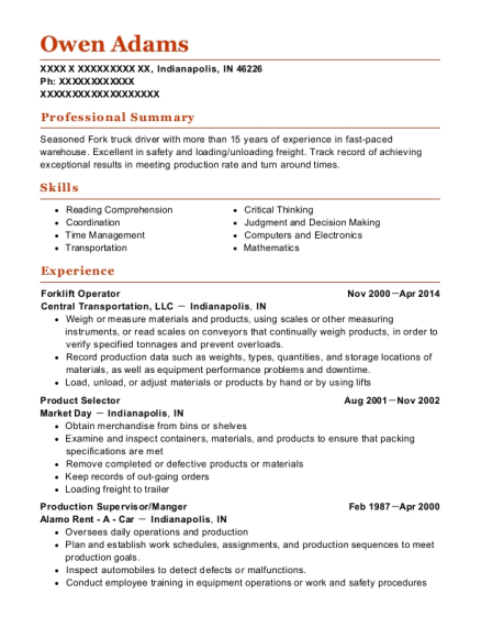 Forklift Operator resume example Indiana