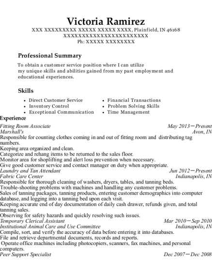 Fitting Room Associate resume format Indiana