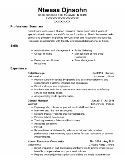 Retail Manager resume format Indiana