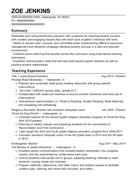 Title 1 Instructional Assistant resume example Indiana