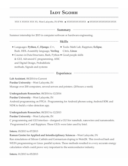 Lab Assistant resume example Indiana