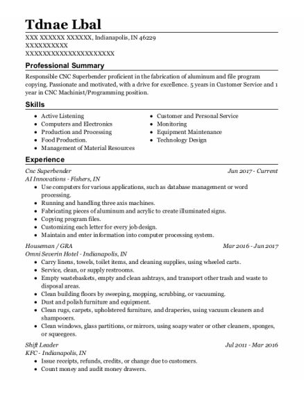 Houseman resume sample Indiana
