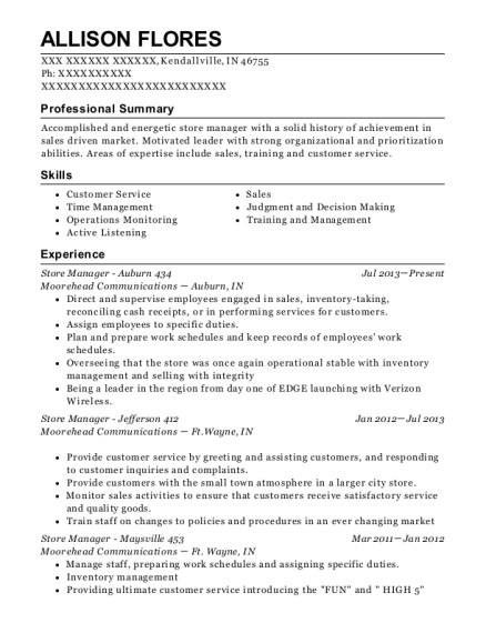 Store Manager Auburn 434 resume template Indiana