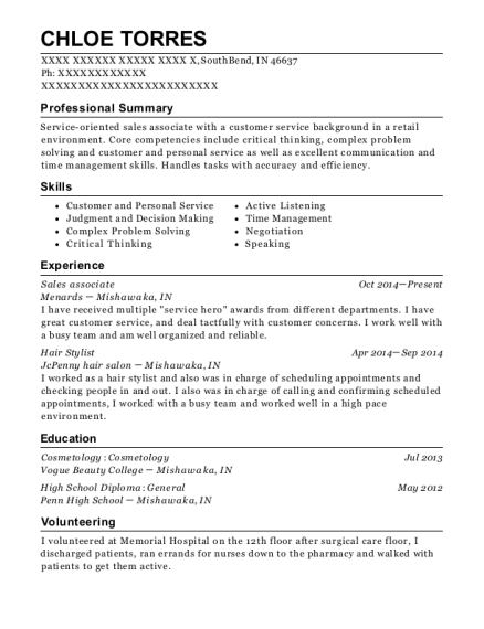 Sales Associate resume template Indiana