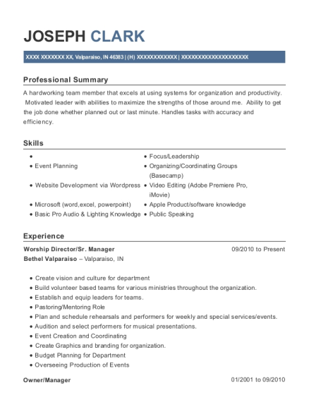 Worship Director resume sample Indiana