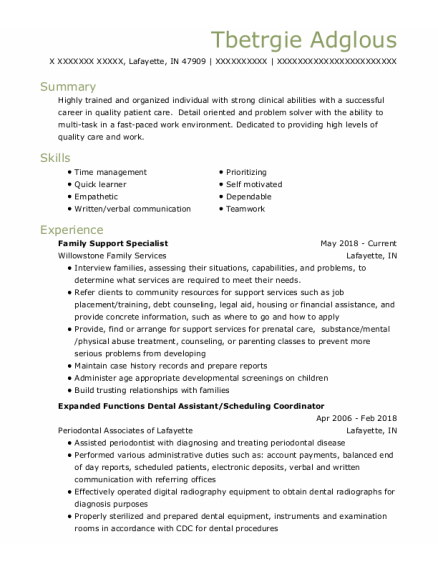 Family Support Specialist resume sample Indiana