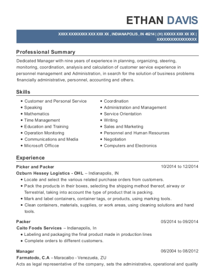 Picker and Packer resume template Indiana