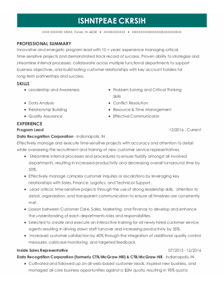 After School Program Leader resume example Indiana