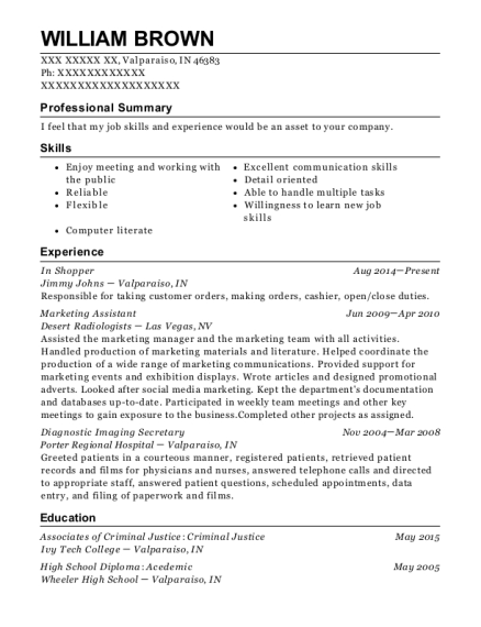 In Shopper resume example Indiana