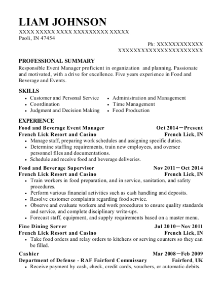 Food and Beverage Event Manager resume sample Indiana