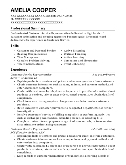 Customer Service Representative resume example Indiana