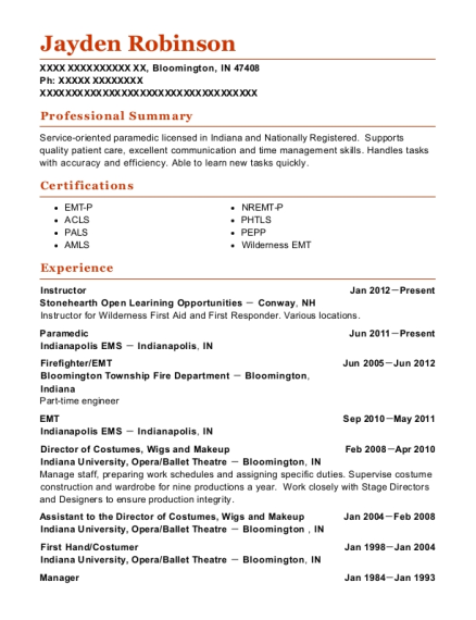 Instructor resume example Indiana