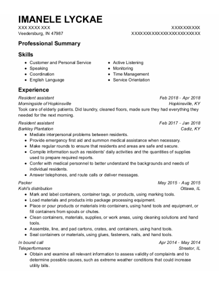 Resident Assistant resume example Indiana
