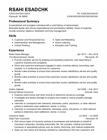 Retail Sales Manager resume sample Indiana