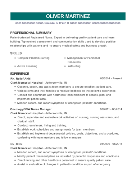 RN resume example Indiana