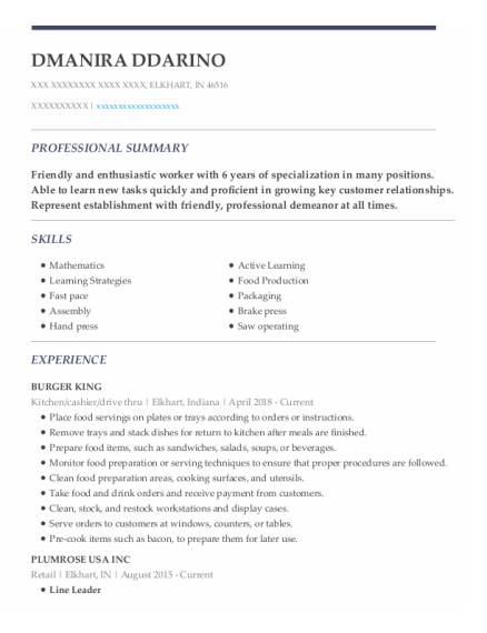 Kitchen resume template Indiana