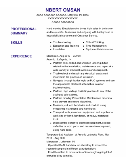 Electrician resume example Indiana