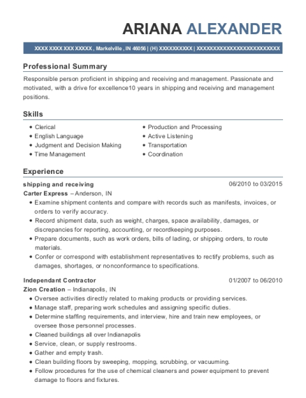 shipping and receiving resume sample Indiana