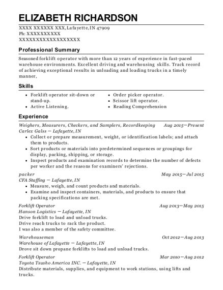 Weighers resume template Indiana