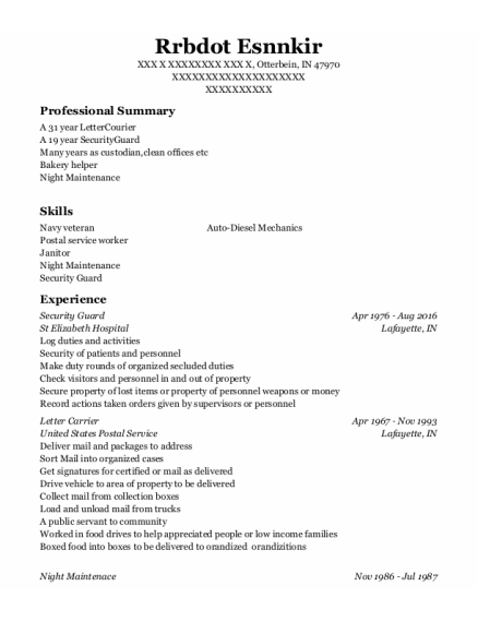 Security Guard resume example Indiana