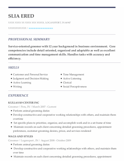 Groomer resume example Indiana