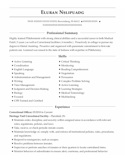 Correctional Officer resume format Indiana