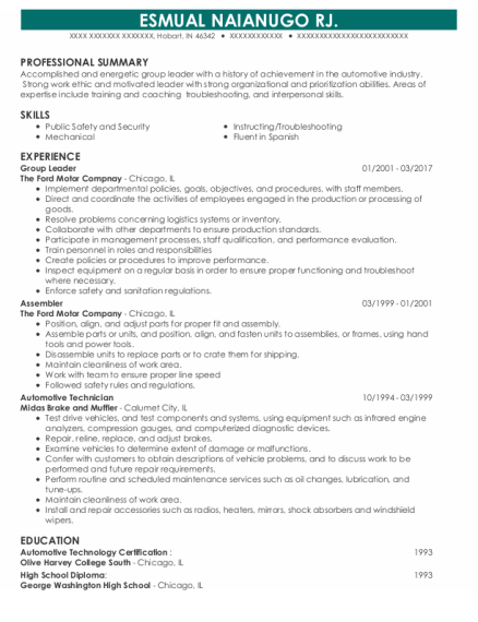 Group Leader resume sample Indiana