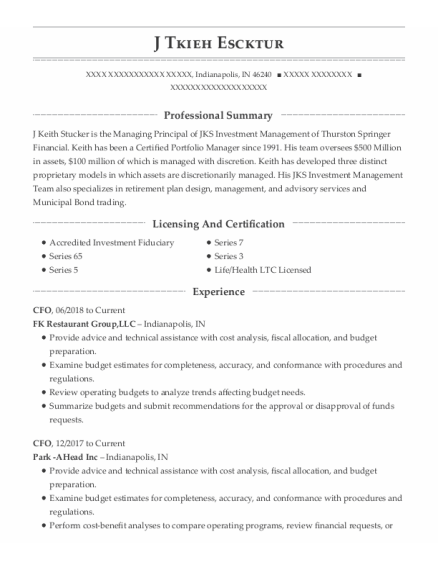 Cfo resume example Indiana