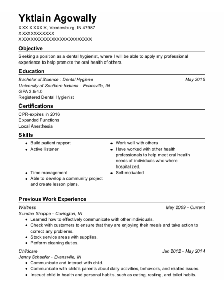 Waitress resume format Indiana