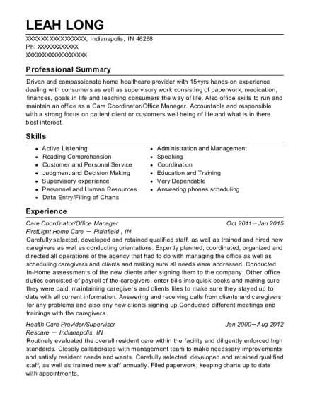 Care Coordinator resume example Indiana