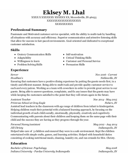 Server resume example Indiana