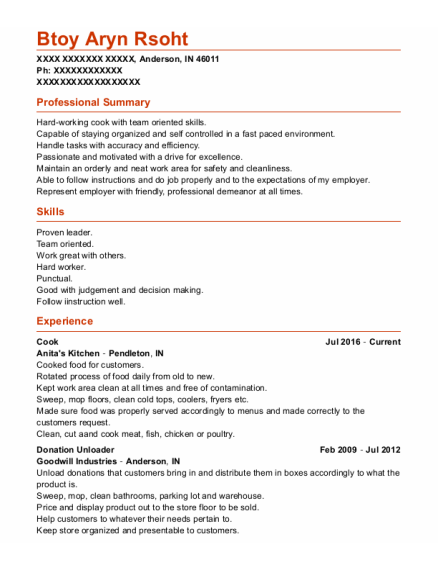 Cook resume example Indiana
