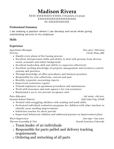 Apartment Manager resume template Iowa