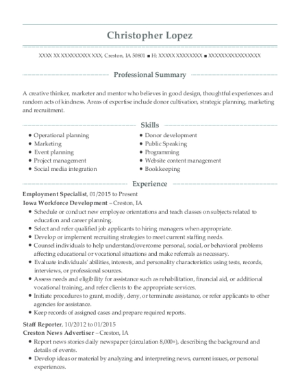 Employment Specialist resume format Iowa